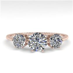 1 CTW Solitaire Past Present Future VS/SI Diamond Ring 18K Rose Gold - REF-157R5K - 35903