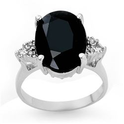 7.76 CTW Blue Sapphire & Diamond Ring 18K White Gold - REF-72W7H - 12977
