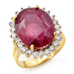 12.0 CTW Ruby & Diamond Ring 14K Yellow Gold - REF-150K9W - 13153
