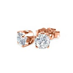 0.90 CTW Certified VS/SI Diamond Solitaire Stud Earrings 18K Rose Gold - REF-131W6H - 13040
