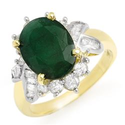 3.27 CTW Emerald & Diamond Ring 14K Yellow Gold - REF-71W5H - 13328