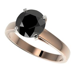 2.59 CTW Fancy Black VS Diamond Solitaire Engagement Ring 10K Rose Gold - REF-55W5H - 36564