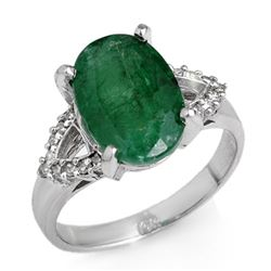 4.44 CTW Emerald & Diamond Ring 14K White Gold - REF-67W6H - 12696