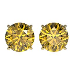 2.57 CTW Certified Intense Yellow SI Diamond Solitaire Stud Earrings 10K Yellow Gold - REF-427W5H -