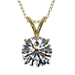 1.29 CTW Certified H-SI/I Quality Diamond Solitaire Necklace 10K Yellow Gold - REF-240A2V - 36781