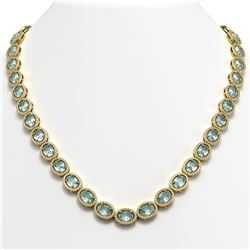 55.41 CTW Sky Topaz & Diamond Necklace Yellow Gold 10K Yellow Gold - REF-558K5W - 40585