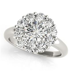 1.38 CTW Certified VS/SI Diamond Solitaire Halo Ring 18K White Gold - REF-226F2N - 27012