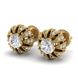 2.01 CTW VS/SI Diamond Art Deco Micro Pave Stud Earrings 18K Yellow Gold - REF-272Y7X - 36997
