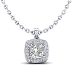 1.25 CTW Cushion VS/SI Diamond Solitaire Art Deco Necklace 18K White Gold - REF-315W2H - 37037