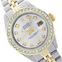 Rolex Men's Two Tone 14K Gold/SS, QuickSet, Diamond Dial & Diamond Bezel - REF-557T2K