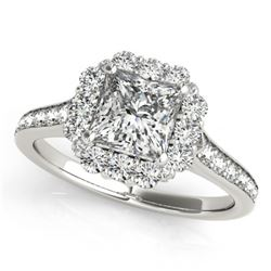 1.50 CTW Certified VS/SI Princess Diamond Solitaire Halo Ring 18K White Gold - REF-441H5M - 27156