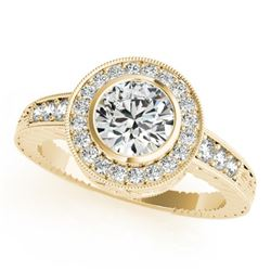 1.11 CTW Certified VS/SI Diamond Solitaire Halo Ring 18K Yellow Gold - REF-216R2K - 26651