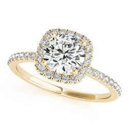 1 CTW Certified VS/SI Diamond Solitaire Halo Ring 18K Yellow Gold - REF-188F2N - 26199