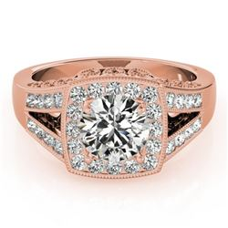 1.65 CTW Certified VS/SI Diamond Solitaire Halo Ring 18K Rose Gold - REF-608F9N - 27028