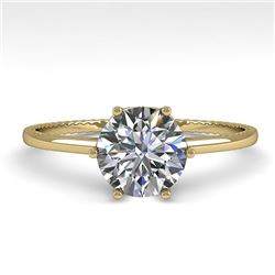 1.0 CTW Certified VS/SI Diamond Engagement Ring 18K Yellow Gold - REF-283X5R - 35887