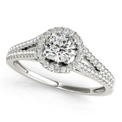 0.80 CTW Certified VS/SI Diamond Solitaire Halo Ring 18K White Gold - REF-130Y5X - 26643