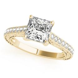 0.80 CTW Certified VS/SI Princess Diamond Solitaire Ring 18K Yellow Gold - REF-134N4A - 27641