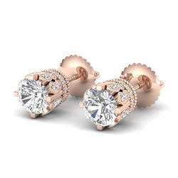 3 CTW VS/SI Diamond Solitaire Art Deco Stud Earrings 18K Rose Gold - REF-619N6A - 36837