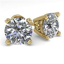 2.0 CTW VS/SI Diamond Stud Designer Earrings 14K Yellow Gold - REF-528X2R - 38372