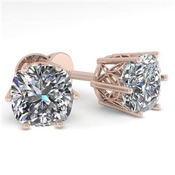 1.0 CTW VS/SI Cut Cushion Diamond Stud Solitaire Earrings 18K Rose Gold - REF-178M2F - 35831