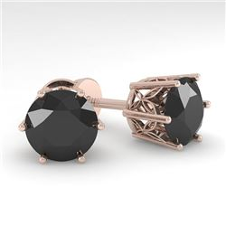 4.0 CTW Black Certified Diamond Stud Solitaire Earrings 18K Rose Gold - REF-104H7M - 35855