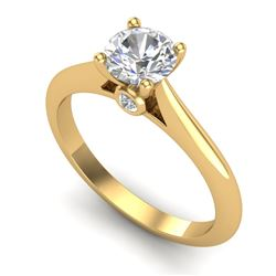 0.83 CTW VS/SI Diamond Solitaire Art Deco Ring 18K Yellow Gold - REF-200X2R - 37285