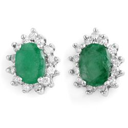 3.85 CTW Emerald & Diamond Earrings 14K White Gold - REF-65V3Y - 13731