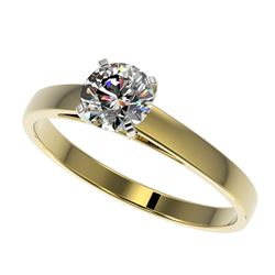 0.77 CTW Certified H-SI/I Quality Diamond Solitaire Engagement Ring 10K Yellow Gold - REF-97M5F - 36