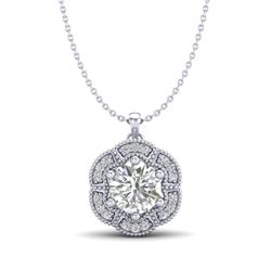 1.01 CTW VS/SI Diamond Solitaire Art Deco Stud Necklace 18K White Gold - REF-245V5Y - 37109
