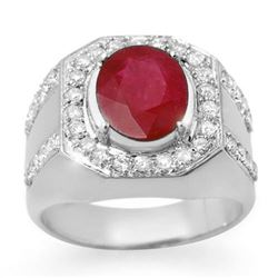 4.75 CTW Ruby & Diamond Men's Ring 10K White Gold - REF-118X2R - 14500