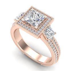 2.5 CTW Princess VS/SI Diamond Micro Pave 3 Stone Ring 18K Rose Gold - REF-527H3M - 37197