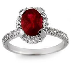 2.50 CTW Ruby & Diamond Ring 14K White Gold - REF-64F2N - 13632