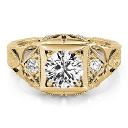 0.60 CTW Certified VS/SI Diamond Solitaire Antique Ring 18K Yellow Gold - REF-132N2A - 27239