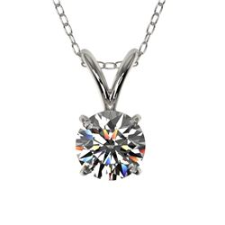 0.51 CTW Certified H-SI/I Quality Diamond Solitaire Necklace 10K White Gold - REF-51W2H - 36717