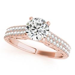 1.41 CTW Certified VS/SI Diamond Solitaire Antique Ring 18K Rose Gold - REF-393W6H - 27319