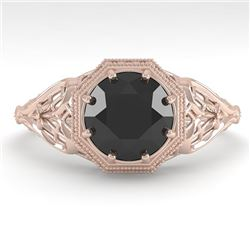 1.50 CTW Black Certified Diamond Engagement Ring Deco Size 7 18K Rose Gold - REF-67N3A - 36053