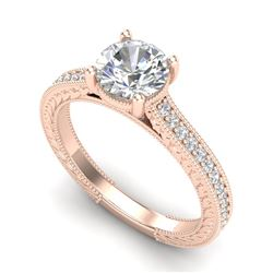 1.45 CTW VS/SI Diamond Solitaire Art Deco Ring 18K Rose Gold - REF-400K2W - 37005