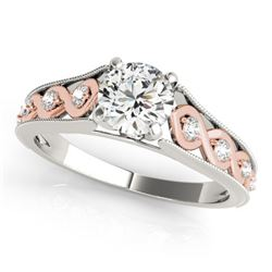 0.75 CTW Certified VS/SI Diamond Solitaire Ring 18K White & Rose Gold - REF-123V8Y - 27548