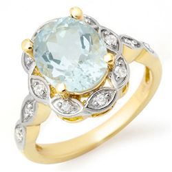 2.65 CTW Aquamarine & Diamond Ring 14K Yellow Gold - REF-51M8F - 14438