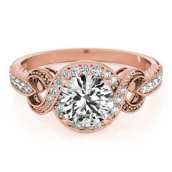 0.80 CTW Certified VS/SI Diamond Solitaire Halo Ring 18K Rose Gold - REF-125M3F - 26579