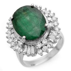 11.75 CTW Emerald & Diamond Ring 18K White Gold - REF-272V7Y - 14413