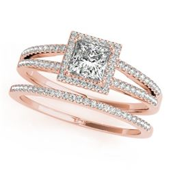 1.56 CTW Certified VS/SI Princess Diamond 2Pc Set Solitaire Halo 14K Rose Gold - REF-436K5W - 31365