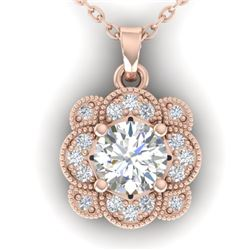 0.75 CTW I-SI Diamond Solitaire Art Deco Necklace 14K Rose Gold - REF-104W7H - 30517