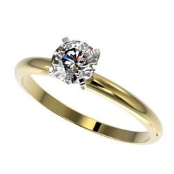 0.75 CTW Certified H-SI/I Quality Diamond Solitaire Engagement Ring 10K Yellow Gold - REF-118A2V - 3