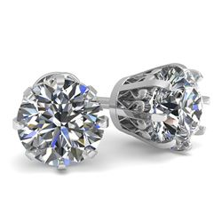 1.53 CTW VS/SI Diamond Stud Solitaire Earrings 18K White Gold - REF-262K5W - 35682