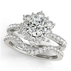 2.22 CTW Certified VS/SI Diamond 2Pc Wedding Set Solitaire Halo 14K White Gold - REF-425Y3X - 30942