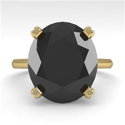9.0 CTW Oval Black Diamond Engagement Designer Ring 18K Yellow Gold - REF-300X2R - 32455