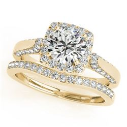 1.37 CTW Certified VS/SI Diamond 2Pc Wedding Set Solitaire Halo 14K Yellow Gold - REF-156A9V - 30707
