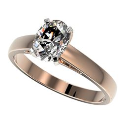 1.25 CTW Certified VS/SI Quality Oval Diamond Solitaire Ring 10K Rose Gold - REF-372W3H - 33011