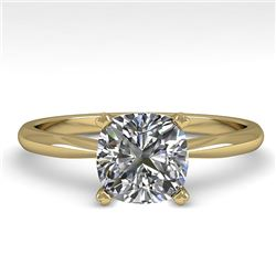 1 CTW Cushion Cut VS/SI Diamond Engagement Designer Ring 18K Yellow Gold - REF-282M2F - 32425